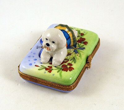 New French Limoges Trinket Box Dressed Up Bichon Frise Dog Puppy In Garden