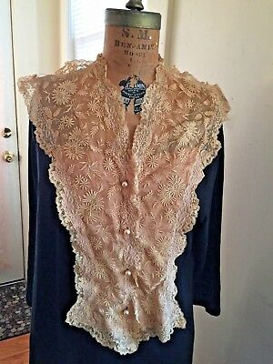 Vtg Antique Early 1900 Ecru Lace Peach Rose Silk Dickie Dicky Jabot Pearl Studs