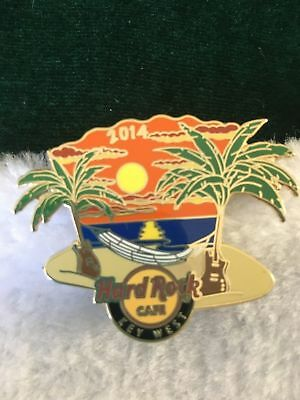 Hard Rock Cafe Pin 2014 Key West ~ Hamock on the Beach with Palm Trees at Sunset