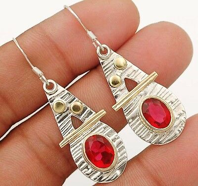 3CT Two Tone-Rubellite Tourmaline 925 Sterling Silver Earrings Jewelry