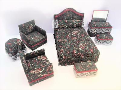 Dollhouse Miniature Vtg Upholstered 8 pc Set Bed Club Chairs Table Vanity Bench
