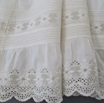 Antique HM Victorian Whitework CHRISTENING Long Gown Broderie Anglaise PINTUCKS