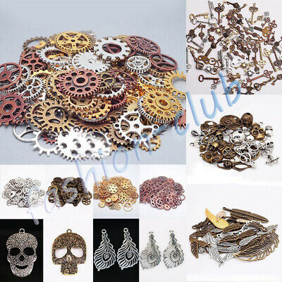 Multi Style Steampunk Pendant Skull Head Cross Gear Charms Necklace Watch Making