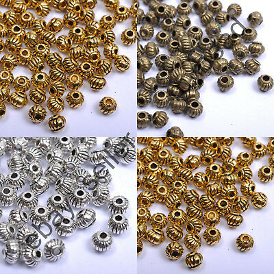 100/500Pcs Tibetan Silver Gold Bronze Round Barrel Lantern Spacer Beads 5MM