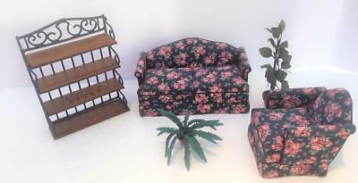 Dollhouse Miniature Vtg Concord Creekside Etagere Upholstered LR Set Plants 5 Pc