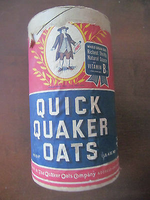 QUICK QUAKER OATS Vintage 1940s Advertising Cylinder Box Container~1lb w/Label