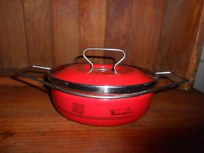Vintage Depositata SILTAL ITALY Red Enamel OVEN to TABLE W/ Lid Egypt Pattern