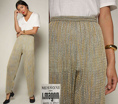 vtg 70s I Magnin MISSONI italy METALLIC KNIT slinky high waist draped pants S/M