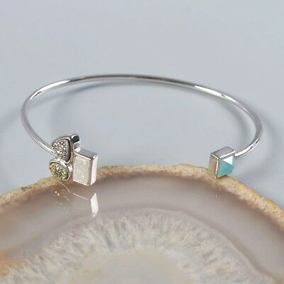 Natural Agate Titanium Druzy & Blue Chalcedony Faceted Bezel Bangle H105820