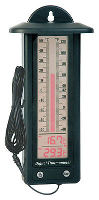 Electronic Max Min Thermometer with Internal and Remote Temperature Probe