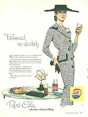 Fashioned so slenderly Pepsi-Cola ad 1956 checked suit big hat pearls