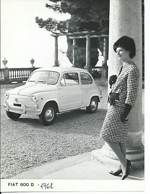 Fiat 600D 1961 Original Press Photograph Lovely Girl in Suit Gloves Mink Hat