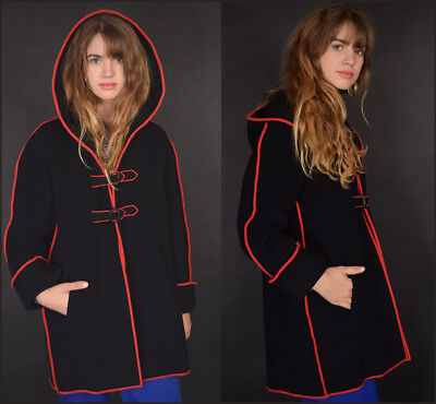 Vtg 60s blk + red graphic lines ANNE KLEIN cloak hood CAPOTE buckles jacket coat