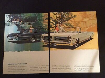 1963 Wide-Track Pontiac 2-Page Print Ad-Bonneville And Catalina Vista Shown