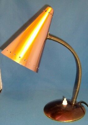 Fab Vintage Gooseneck Desk Lamp Copper with Punched Stars
