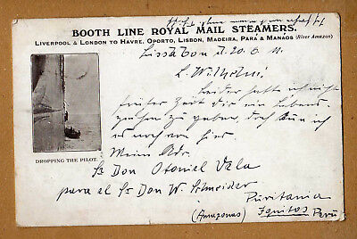 Karte Schiffspost Royal Mail Steamers Lissabon 1911,Briefmarke Portugal Aufdruck