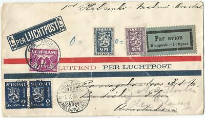 Finland Suomi 2Cx2+2M+1 1/2M Lettre Cover Avion Klm Helsingki 1930 To Nerderland