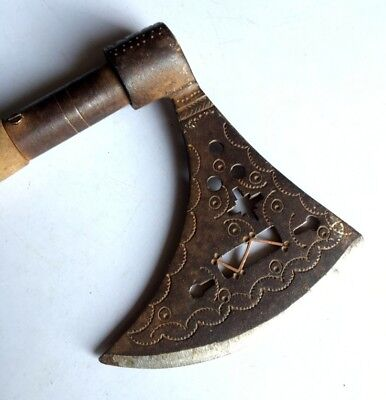 Antique Old Iron Copper Rare Hand Carved Persian Turkish AXES