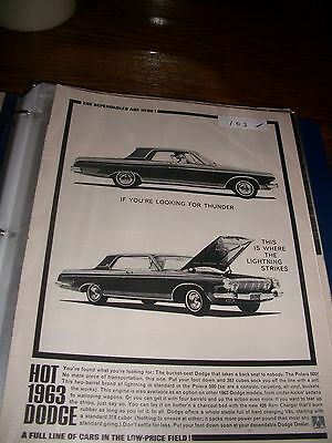 vintage 63 dodge original magazine print looking for thunder lightining strikes