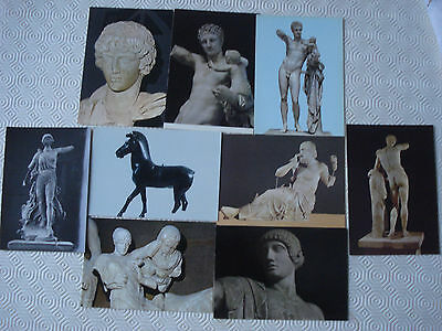 Collection of 9 x Greece postcards - Olympia Museum statues (unused)