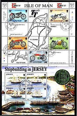 ISLE OF MAN & JERSEY 2 X COMMEMORATIVE S/Ss (37) USED