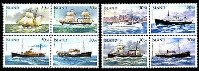 Iceland 2 X Blocks Of 4 Ships (44) Mint Never Hinged