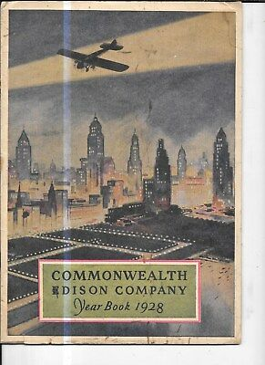 "COMMONWEALTH EDISON CHICAGO ILLINOIS 1928 YEARBOOK MAGAZINE  9x12"" w system map"