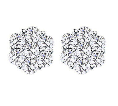 14k Solid Gold Miracle Set 1 CT White Natural Diamond Flower Stud Earrings