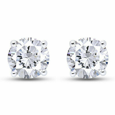 1/2 Ct Round Cut Diamond Stud Earrings set in 14K Solid Gold Screw-Backs