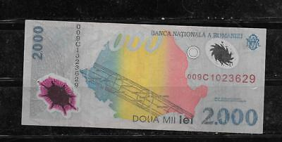 ROMANIA #111a 1999 VG CIRC 2000 LEI POLYMER BANKNOTE PAPER MONEY CURRENCY NOTE