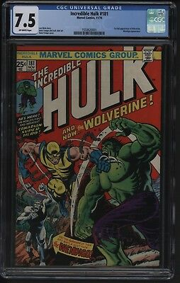 Incredible Hulk #181 Cgc 7.5 Really Nice Spine Area Off White Pages Case Perfect