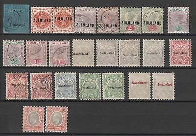 British Africa and Zululand, Swaziland selection of 25 Mint & Used