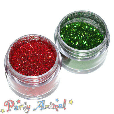 Rainbow Dust Cake Glitter - Christmas Sparkle Set of 2 - Fire Red & Moss Green