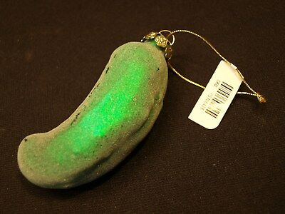"Vintage 4"" Tagged Cucumber / Pickle Veggie Figural Glass Christmas Ornament EXC"
