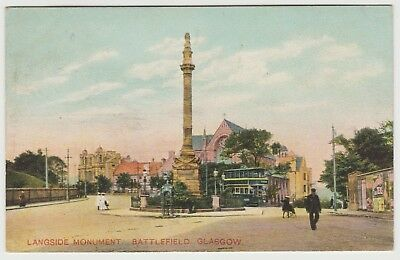 Langside Monument, Fountain, Tram, Man etc, Glasgow:~1903 Britannia PPC, G. Used