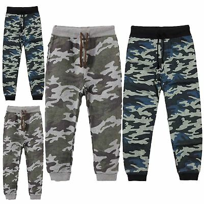 Boys Kids Unisex Elasticated Waist Camo Joggers Army Bottoms Jogging Sweatpants