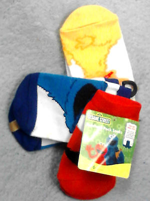 3 pack Sesame Street socks boys girls size 4-6 nwt