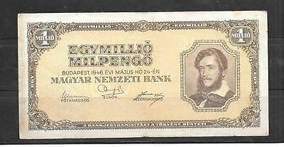 Hungary #128 1946 1 Million Milpengo Vg Circulated Banknote Paper Money Note