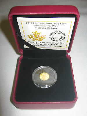 2017 Predator vs. Prey Inuit Arctic Hare 25cents 0.5 g Pure Gold Coin- RCM