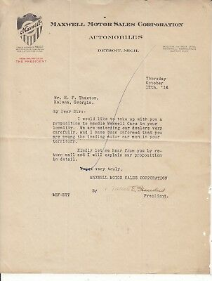 Maxwell Motor Sales Cor.letterhead Dated Oct. 12, /16 Detroit From The President