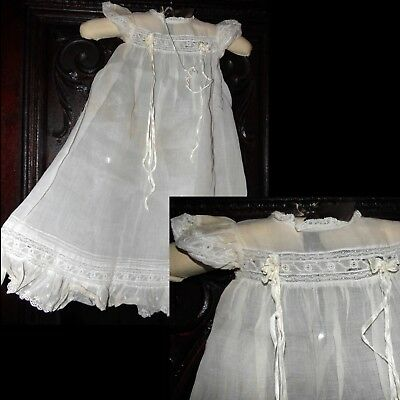 Antique 1800s Gorgeous Edwardian Victorian Lace Ribbon Dress Christening Gown