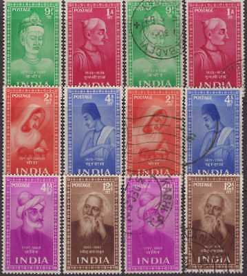 India Modern 1952 SG337-342 Saints & Poets Set 6 UM & FU CV£49