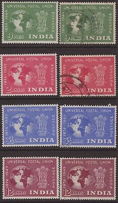 India Modern 1949 SG325-328 UPU Set 4 LMM & FU CV£37