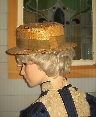 Ancient Antique Men's Straw Boater Hat - Wonderful!