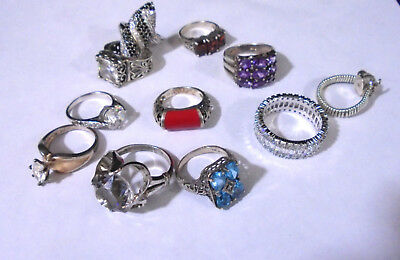 Lot Of 11 Sterling Silver Rings With Stones. 58 Grams Total Weight. TESTED (430)