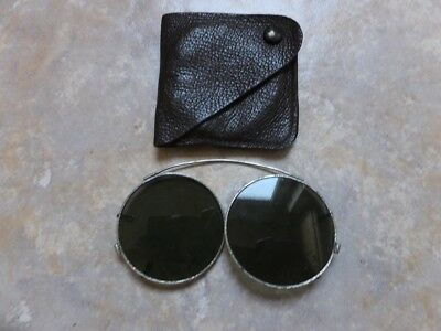 Vintage folding Clip on Sunglasses, Working  with leather pouch