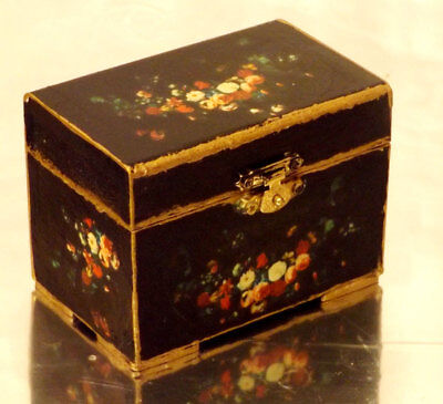 NEW  Wooden Jewellery Box Papier mache Style Black with roses Laquered
