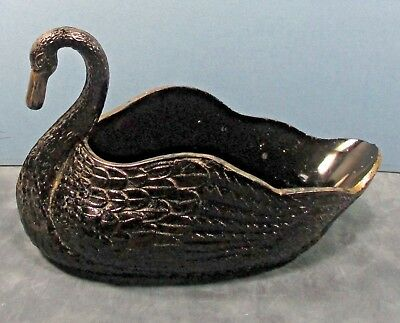 "Black amethyst glass swan bowl-dish 8.5""x4.5""x5.5"" 1lb 11oz. wkx ᵍ"