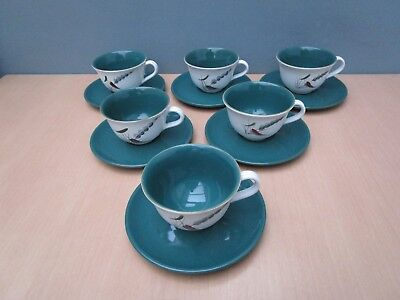 """6 Vintage Denby """"greenwheat"""" Cups And Saucers"""