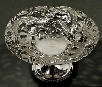 "Chinese Export Silver Compote     ""BATTLING DRAGONS""     SIGNED"